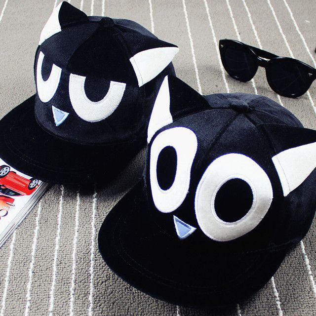 harajuku caps 2017 kawaii korean hats for men cute cartoon cat ears eyes embroidered baseball cap hip hop hat cap