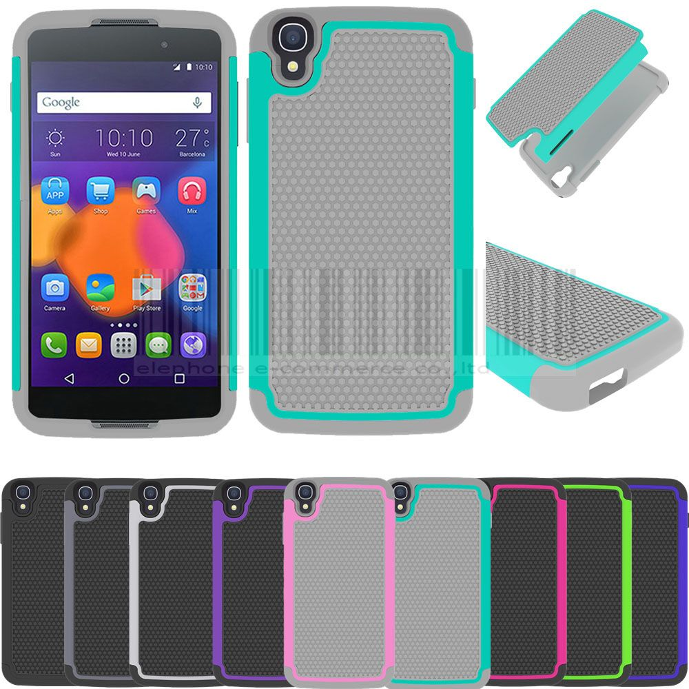 Rugged Dual Armor Impact Hybrid Case With/Without Stylus+Films For Alcatel One Touch Idol 3 4.7 inch 6039 6039A 6039K 6039Y