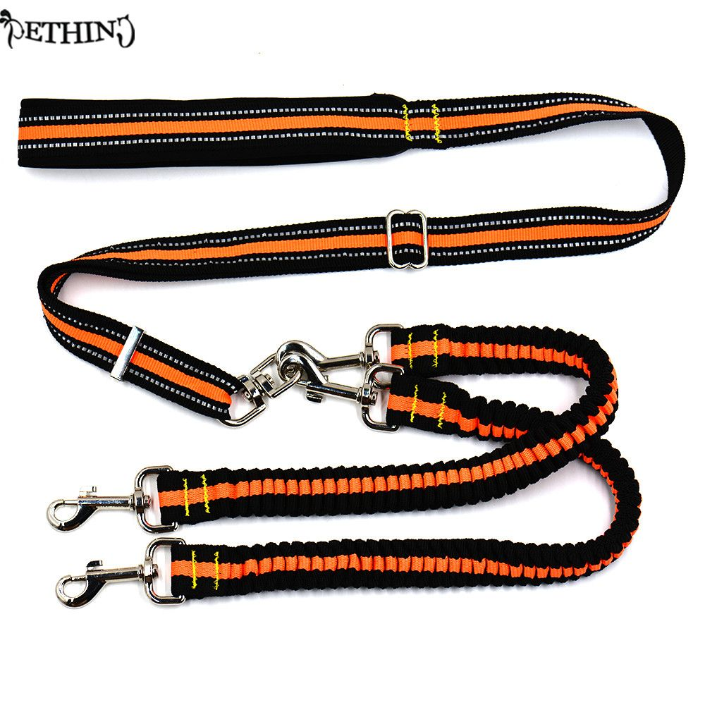 New Nylon Adjustable dog double 2 dog leash reflective strip Lead  No Tangle Dog Lead Coupler Elastic strong dog leash double