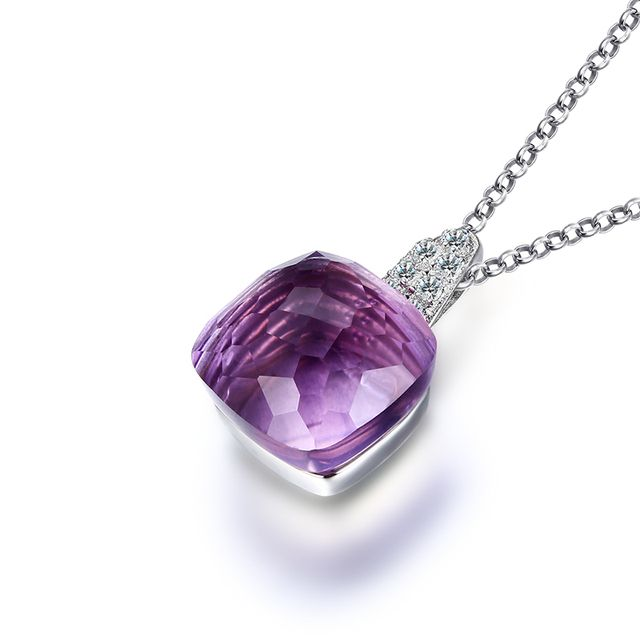 100% Real Pure 925 Sterling Silver Necklace Square Nature Amethyst Necklaces & Pendants for Women Wedding Engagement Jewelry