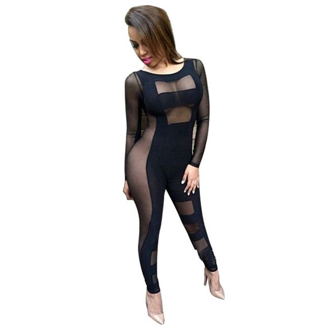 New 2016 Women Solid Black Sexy Perspective Mesh Jumpsuit Rompers Female Nightclub Piece Pants Catsuit Stage Clothing
