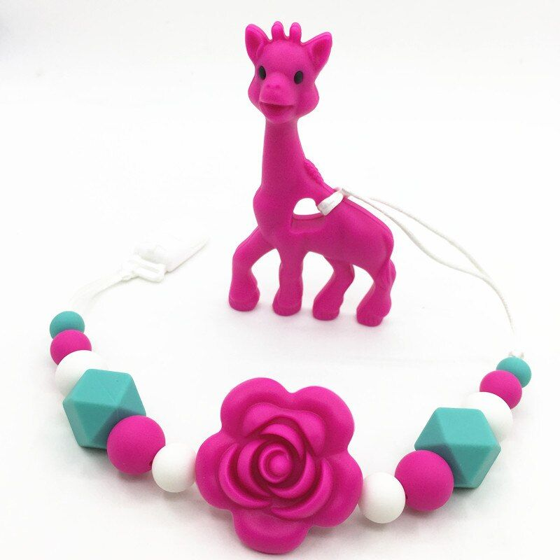 NEW Silicone teething Giraffe Teething Clip baby teething pacifier giraffe clip silicone teething pacifier necklace beads Hangin
