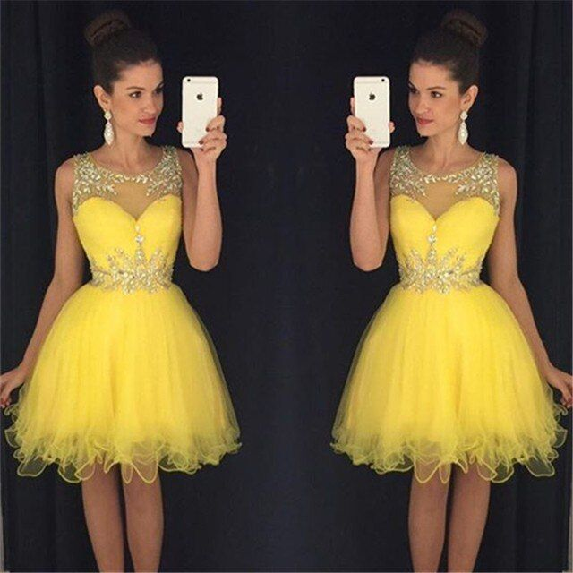 Sexy Beading Sequined Sleeveless Short Dresses Cocktail Dresses 2016 Knee-Length Ball Gown None Off the Shoulder Prom Dress 2016
