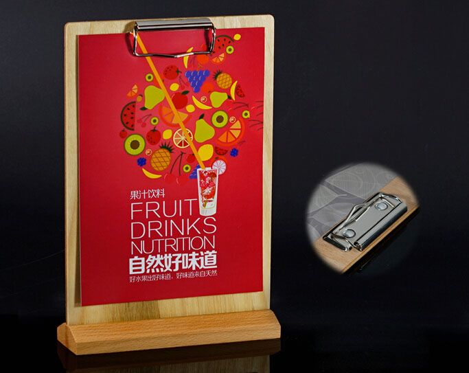 Custom poster snap stand A4 Restaurant Retro wooden Price Tag Display Stand Tabel Sign menu list snap holder rack