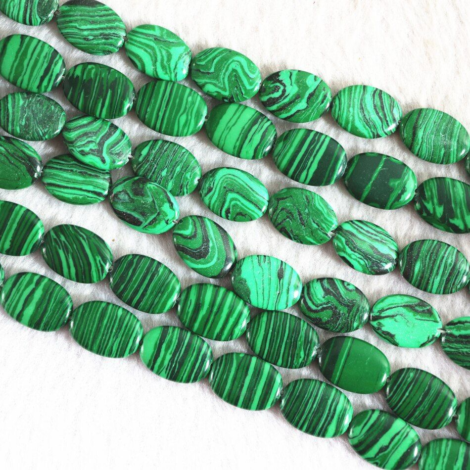 Hot sale artificial green malachite stone 13*18mm new oval shape fashion beads diy charms Jewelry B364