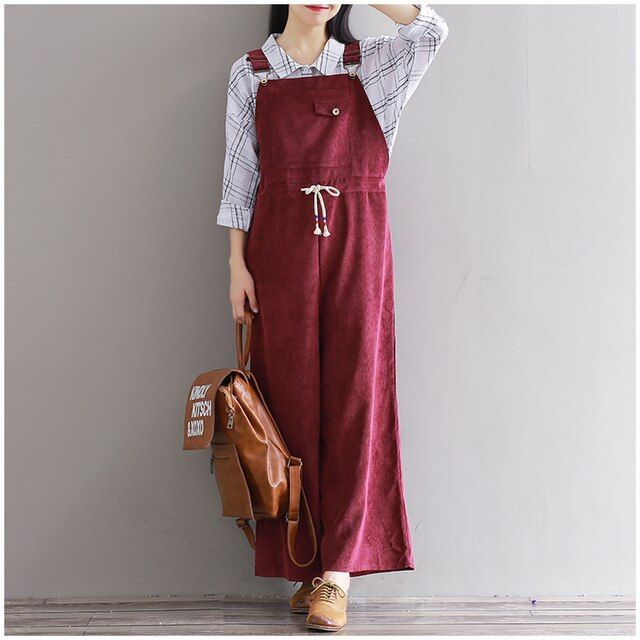 2016 new autumn winter women suspenders corduroy wide leg pants with pocket female loose jumpsuit plus size overalls feminino
