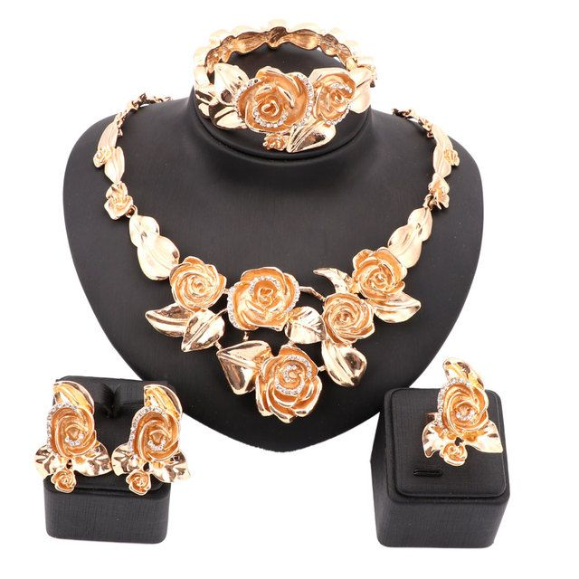 Hot Sale Nigerian Beads Wedding Jewelry Set Bridal Dubai Gold Color Crystal Flower Jewelry Sets African Beads Jewelry Set