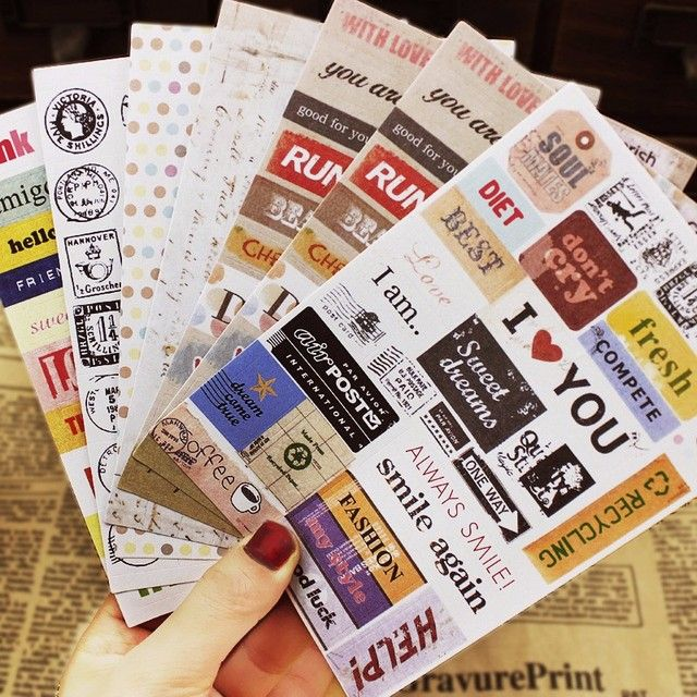 6Pcs/lot Decoration Kids Stickers DIY Letter Print Calendar Paper Sticker Sticky for Scrapbooking Diary Funny Toys