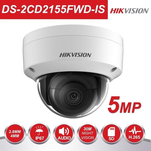 Hikvision CCTV Dome Camera DS-2CD2155FWD-IS Fixed Lens IP Camera H.265 Max. 2560 * 1920@30fps IK10 IP67