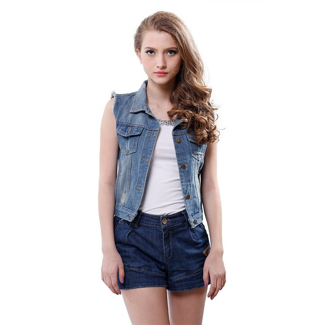 New Sleeveless Women Denim Tops Lady Turn Down Collar Cardigans Personalized Lady Denim Jean Coat Jacket