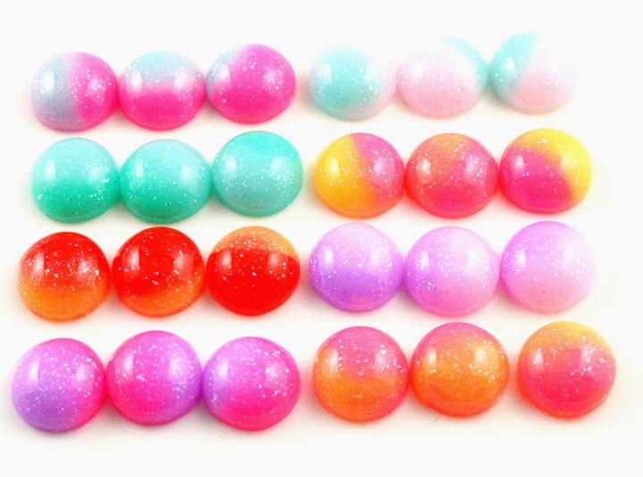 New Fashion 40pcs 12mm Mix Colorful Candy Color Crystal jelly series Flat back Resin Cabochons Cameo