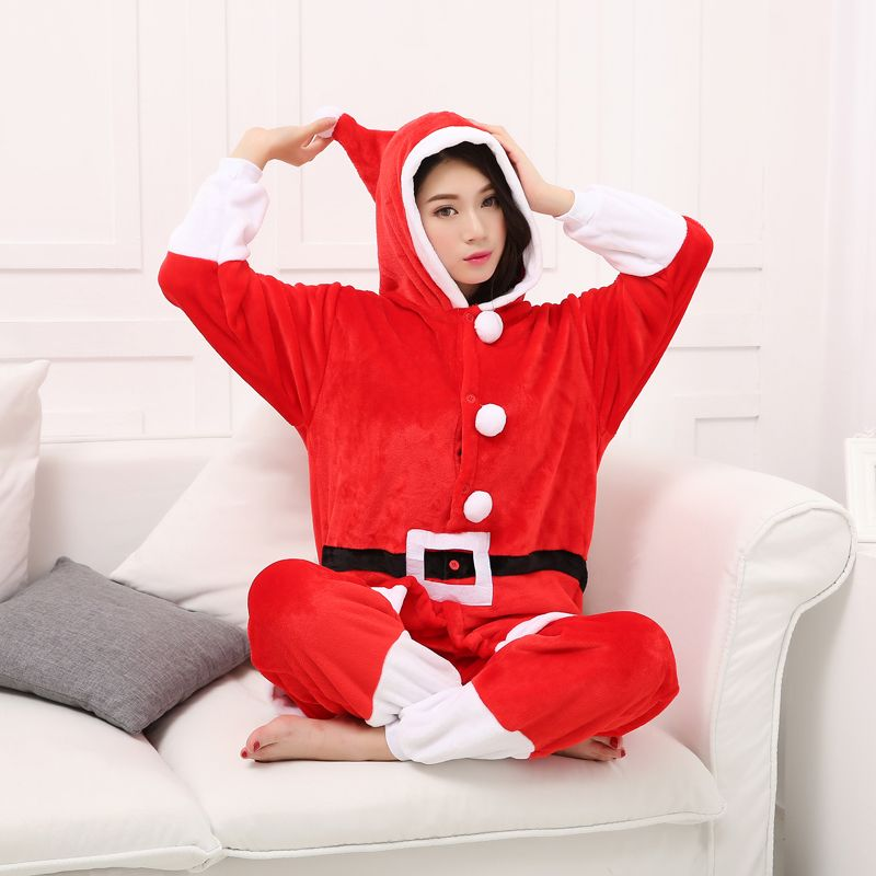 Santa Claus Pajamas Animal Cosplay Costume Flannel Girls Boys Adult Pajamas Onesies Cartoon Sleepwear Sleepsuit