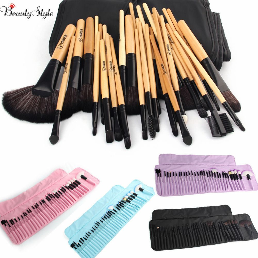 VANDER Makeup Brushes Set 32 PCS Pink/Black/Blue/Purple/Brown pincel Maquillage Kabuki Pinceaux Brush Set Kit Tools + Pouch Bag