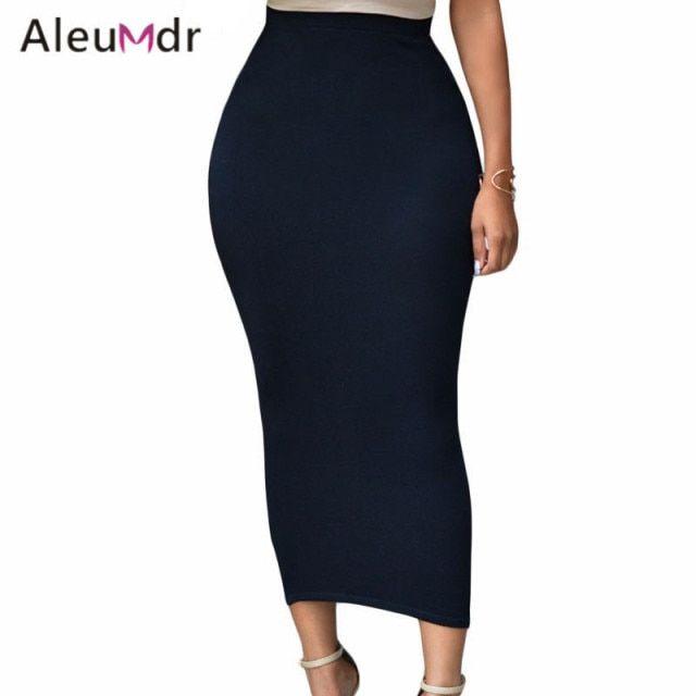 Aleumdr Fashion 2017 Vintage Womens High Waist Midi Skirts Slim Summer Pencil Skirt Office Lady Bodycon LC71188 Saias Femininas