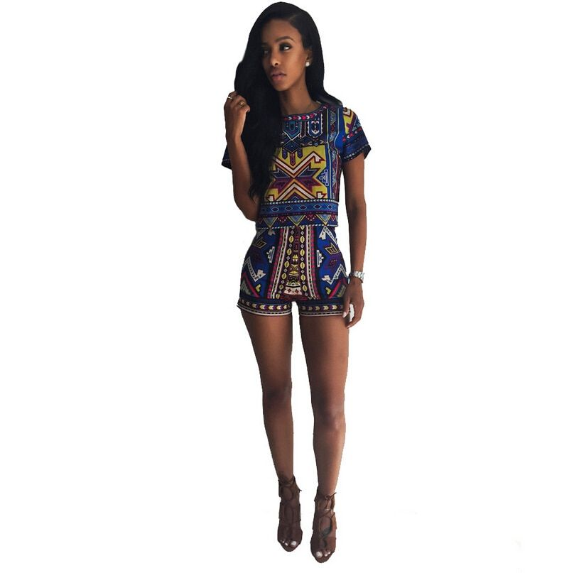 2 Piece Set Women Totem Print Zip Back Short Sleeve Top High Waist Shorts New Fashion Casual Suit Women Two Piece Short Set