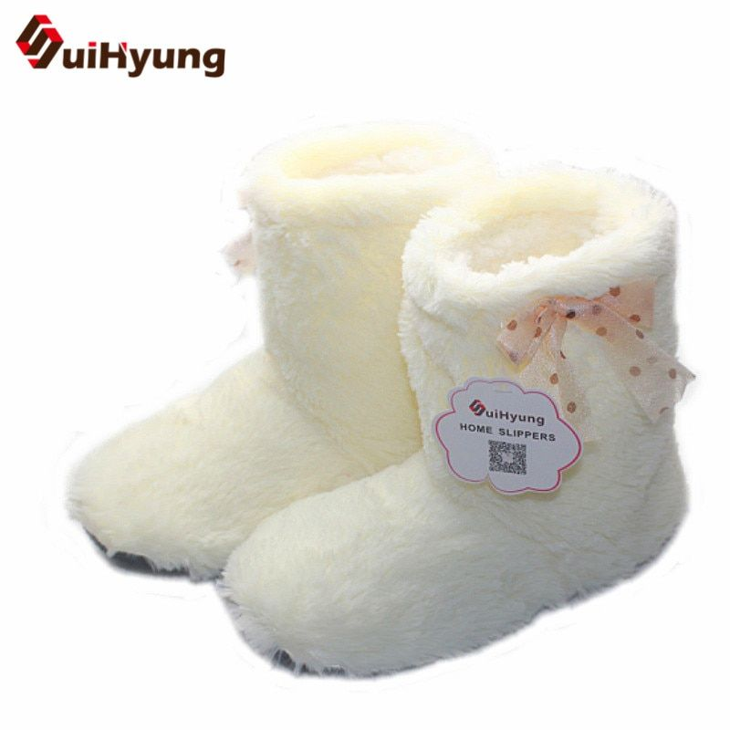 New Women's Shoes Thick Plush Warm Indoor Floor Shoes Non-slip Soft Bottom Flat Cotton Shoes Cute Bow Home Slippers Female Botas