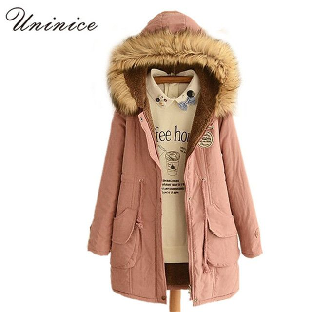 Autumn & Winter Fur Collar Coats Parkas for Women Brand Female Appliques Hooded Cotton Coats 2016 New Arrival Fashion