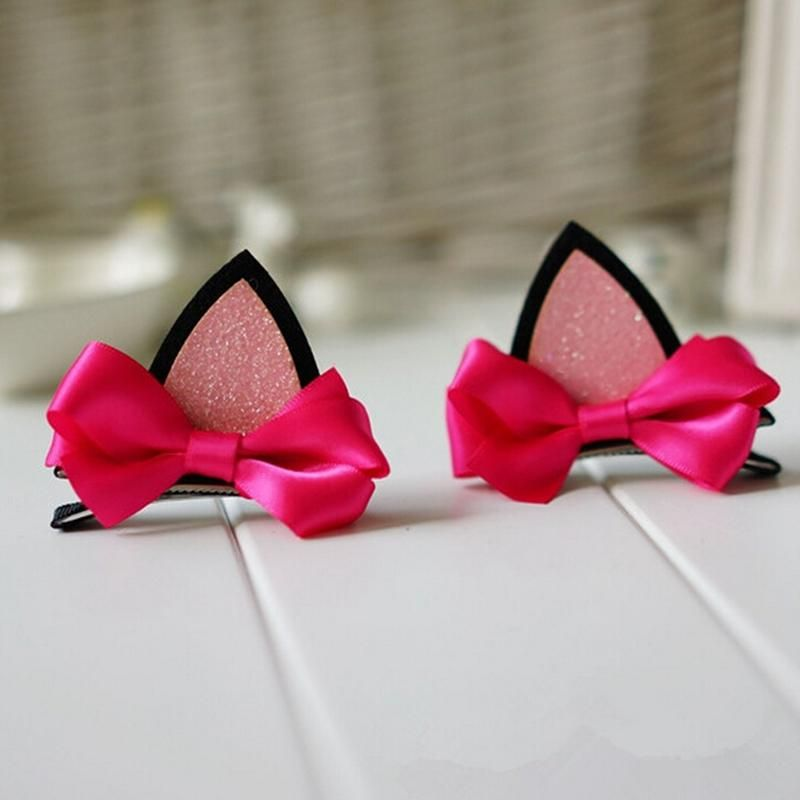 1Pcs Cat Ear Hairpins Bow Hair Ornaments Hair Jewelry Children Hair Accessoreis Girls Hair Clip Kids Barrettes Hairpins