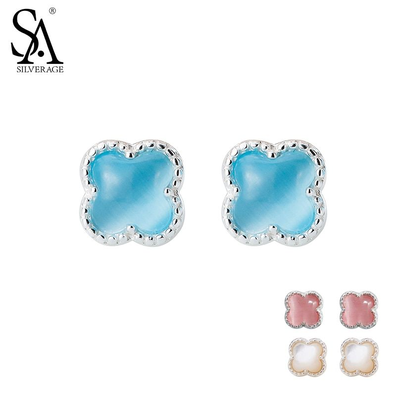 SA SILVERAGE 925 Sterling Silver Stud Earrings for Women Fine Jewelry Flower Silver Earrings set Earings Broncos Pendientes