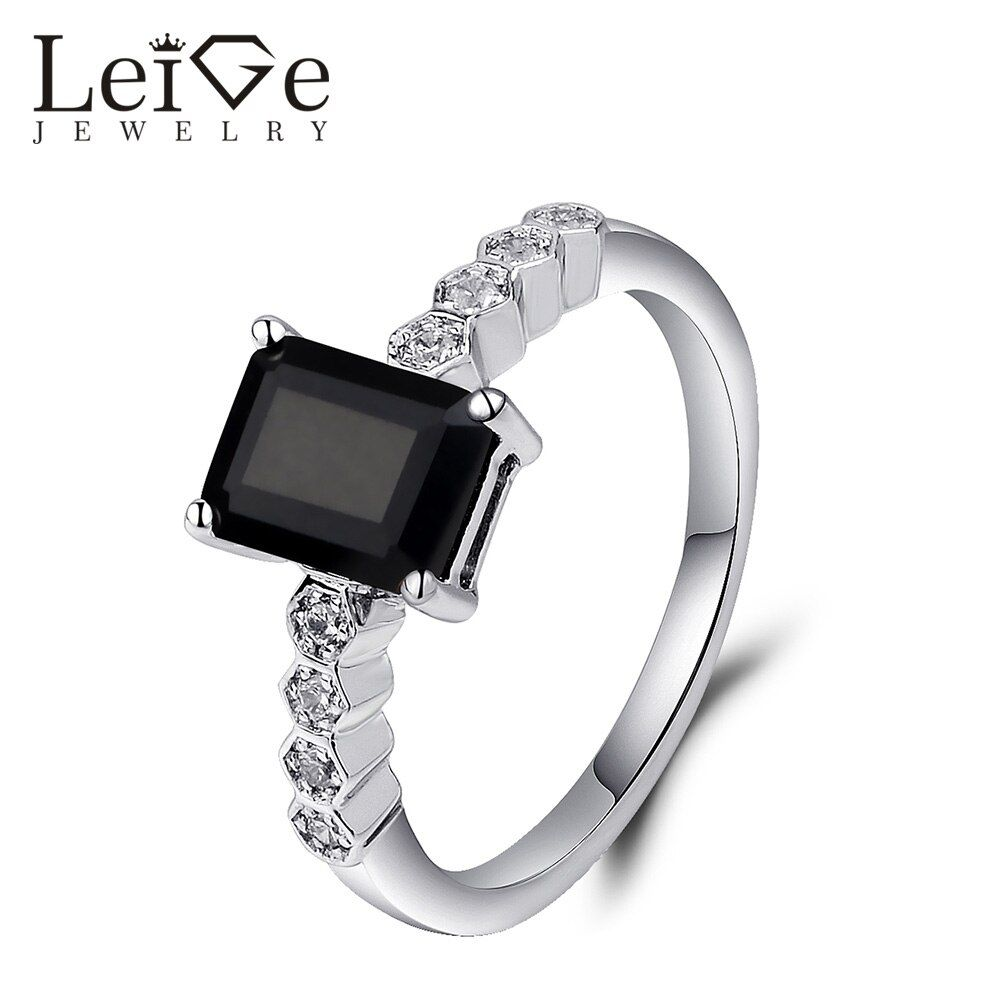 Leige Jewelry Black Spinel Ring Emerald Cut Natural Gemstone 925 Sterling Silver Rings for Women Wedding Christmas Gift