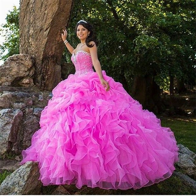 Ball Gown 2018 Quinceanera Dresses Peach Sweet 16 Dresses vestidos de 15 anos Beading Organza Pageant Dress On Sale M734