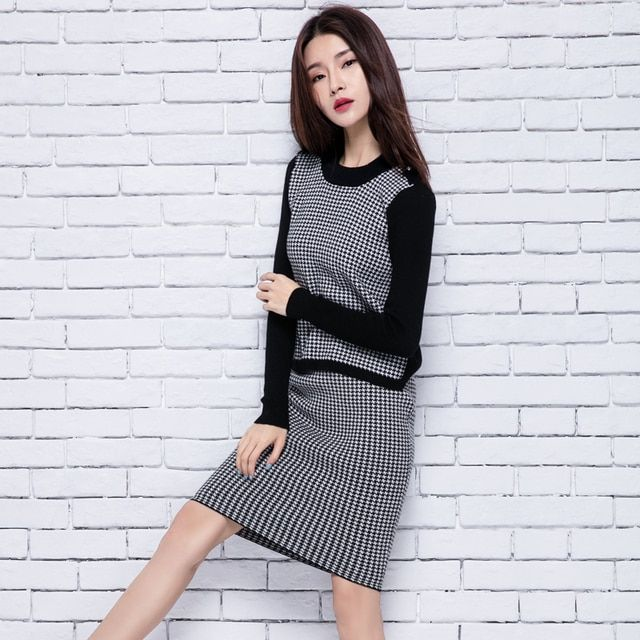 adohon 2018 womens winter Women's Sets Cashmere Sweater and dress women High Quality Warm Female Plaid Knee-length Elastic Waist
