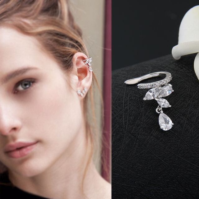 Fashion Drop Water Clip Earrings Jewelry Zirconia Crystal Jackets Jewelry Cuff Earrings For Women Boucle D'oreille Aros AE230
