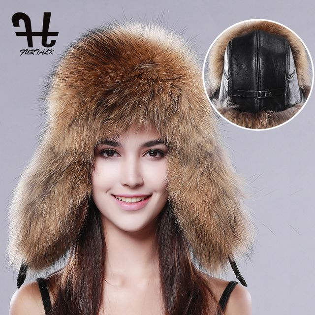 FURTALK Women's Russian Raccoon&Lamb Leather Cap Ushanka trapper Hats for women winter fur hat Ear Cap Cossack