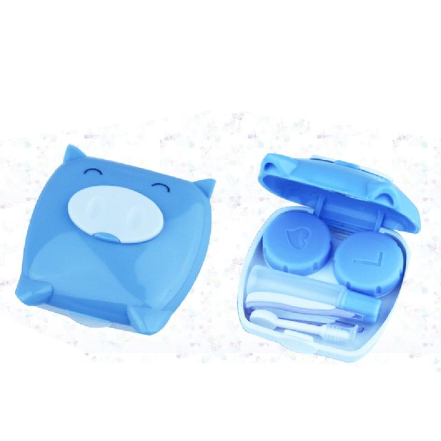 Lovely Unisex style Pig Cartoon shape design Contact Lens Case Companion Box Contact Lenses Box Blue/Pink