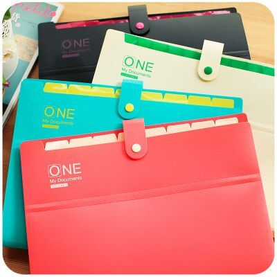 Korean Stationery Cute File Folder A4 Multi-layer Closure Office File Folders Paper File Organizer For Documents