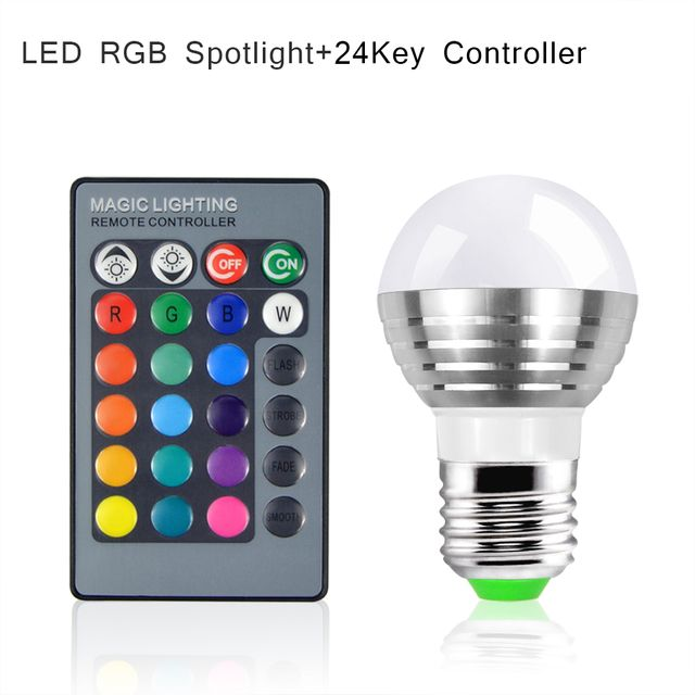 1Pcs Lovely 16 Colors Changeable RGB LED Spotlight Bulb 85V- 265V With IR Remote Controller Holiday Lamp Decorative Night light