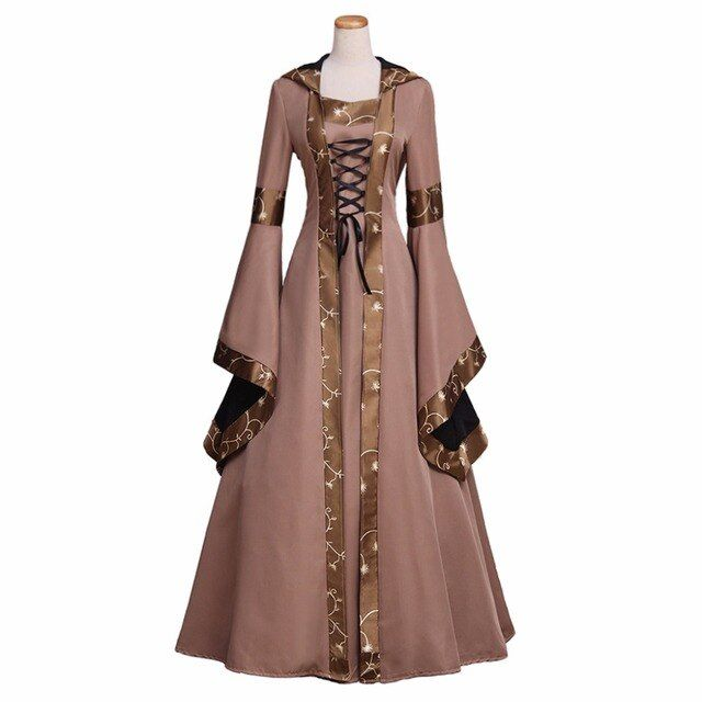 Custom Made Women's Dress Cosplay Vintage Victorian Medieval Dress with Hoodie Cosplay for Halloween Carnival Party