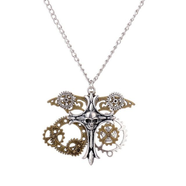 Cool Steampunk Pendant Necklace Gears Skull Cross Charm Pendant Necklace