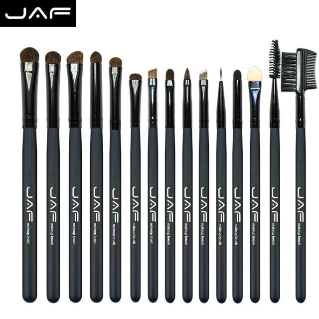 JAF 15 Pcs Pony Hair Eye Shadow Eyebrow Brush Brand Makeup Brushes Professional Cosmetic Kits Make Up Brush Set maquiagem JE15P