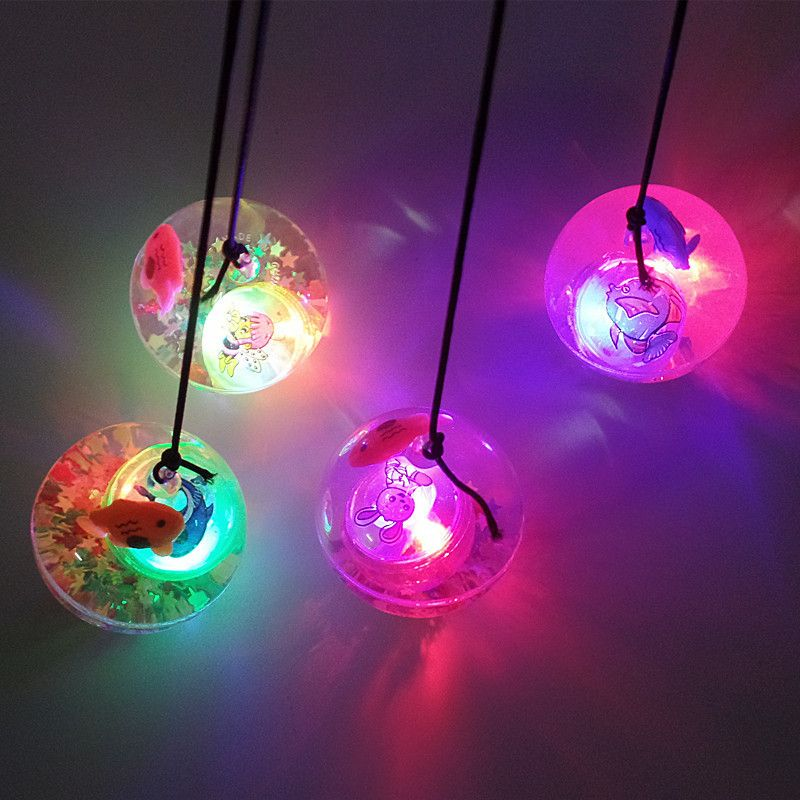 Lanyard luminous elastic ball wholesale 55mm transparent flash crystal ball led lights luminous children's toys ball