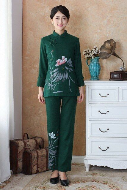 Fashion Dark green Women's clothing Linen Long Sleeve jacket pants suits set Size M L XL XXL XXXL 4XL 2508-2