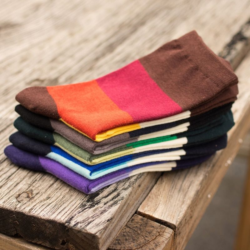 New Man in tube socks fashion spell color stripe man socks autumn winter Man socks EUR39-44