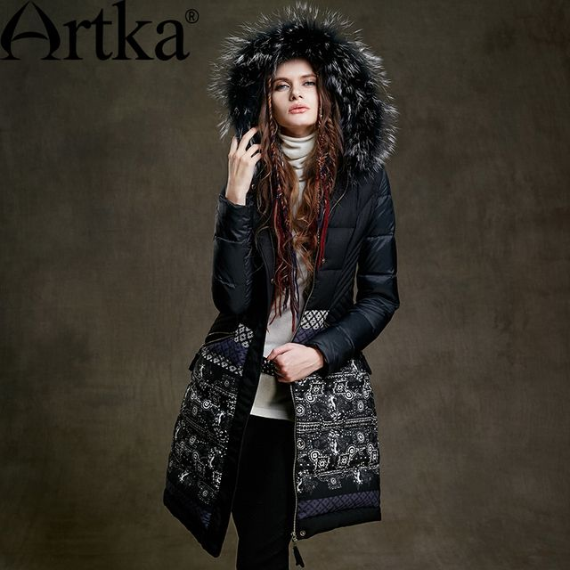 Artka Fur Parka Women's Winter Jacket With Hood 2017 Black Long Parka Print Ladies Overcoat Luxury Duck Coat For Women ZK15255D