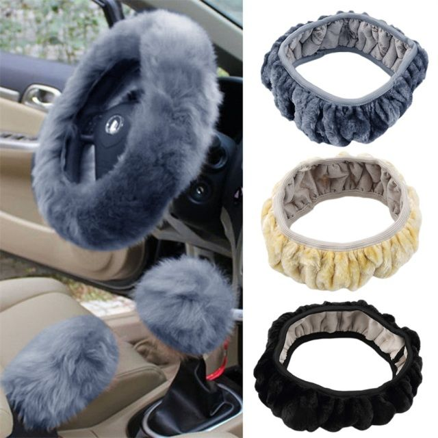 Car-styling Charm Warm Long Wool Plush Steering Wheel Cover for Car Handbrake Accessory for Diameter 36-38cm Hot Selling