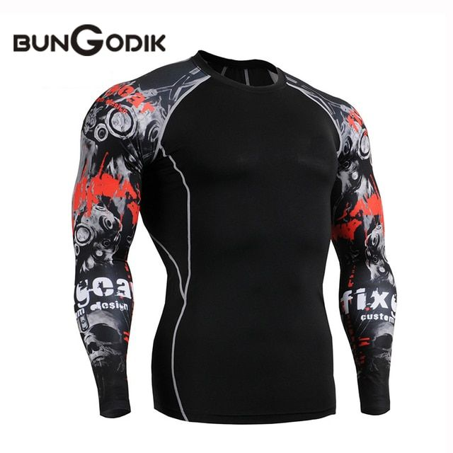 Bungodik New Fitness Gym Sports Running Tights Shirt Men Long Sleeve Quick Dry Breathable Blue Jays Jersey Camisetas Rashgard