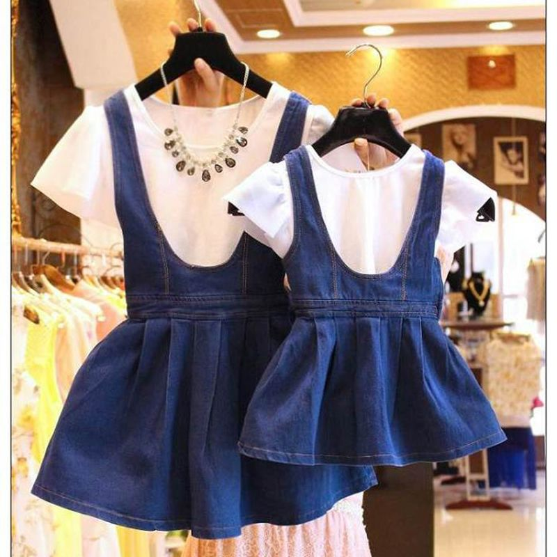 2016 Family Korean fashion cotton Summer Matching mother daughter Denim dresses baby dress,women dress,Family look,BC1083