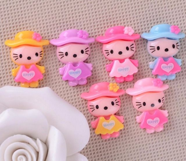 100pcs Resin Cat with Cap Flatback Beads Figurines Miniatures For Scrapbooking Craft Diy Headwear Cellphone Decoration