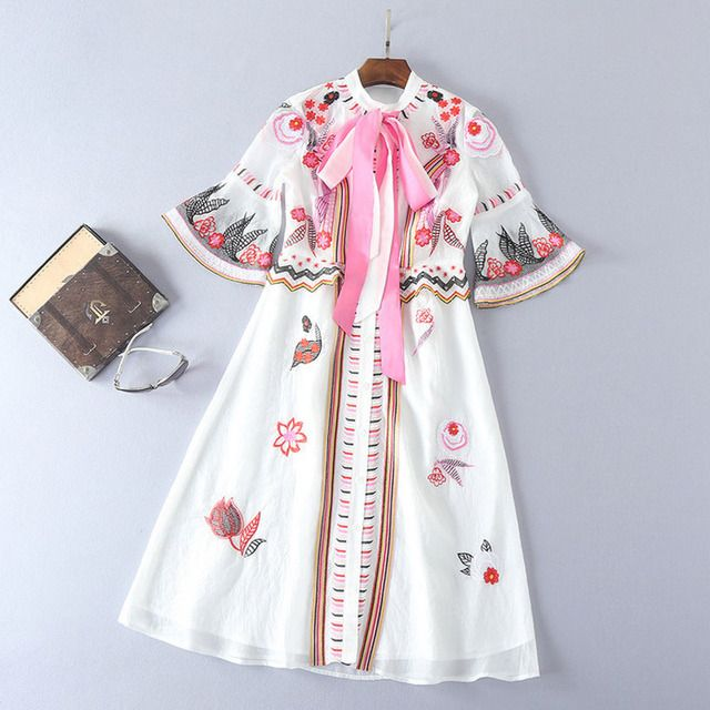 white embroidery dress pink lace up bow collar flare sleeve a line midi dress vintage high quality designer women summer dresses