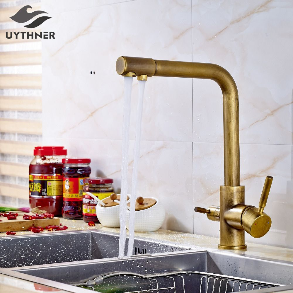 Uythner Solid Brass Kitchen Faucet Mixer Tap Dual Spouts Antique Brass Deck Mounted