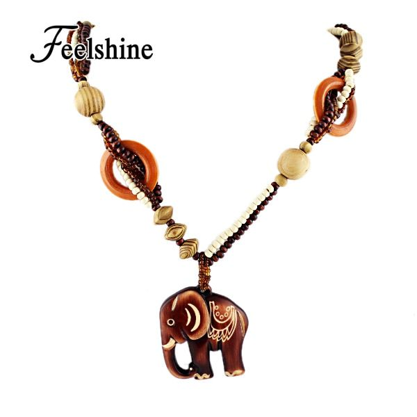 Boho Ethnic Jewelry Long Hand Made Bead Wood Elephant Pendant Maxi Necklace For Women Wholesale Price