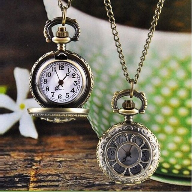 Perfect Gift Hot Fashion pocket watch Vintage Retro Bronze Quartz Pocket Watch Pendant Chain Necklace Levert Dropship July14P30
