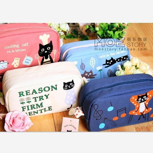 Large Capacity Cat style Canvas Pencil Bag Pencil Case Children School Pencilbag Cosmetic Bags Free Shipping
