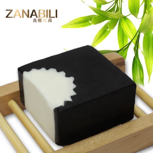 ZANABILI Natural Black Bamboo Charcoal Soap Face and Body Bath Soap For Acne and Removing Blackheads 110g
