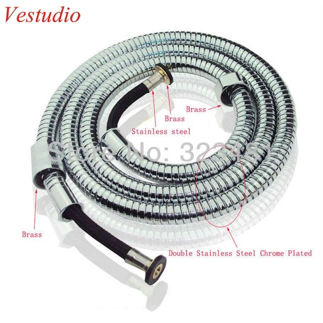 Vestudio 1.5m Bathroom Accessories Shower Hose for Toilet Bidet Double Lock Stainless Steel Shower Hose EPDM Inner Tubes