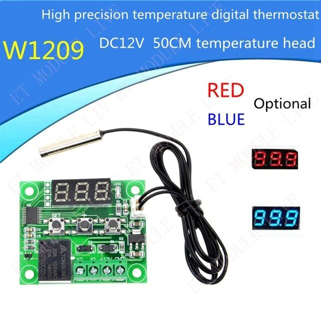 MH-ET LIVE W1209 DC 12V heat cool temp thermostat temperature control switch temperature controller thermometer 50CM thermo